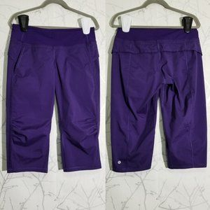 Lululemon Purple Durable Water Resistant Swift Mid Rise Ruched Crop